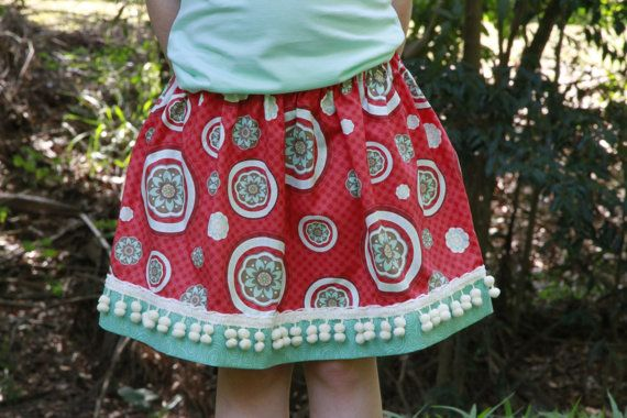 Flower Circle Red and Turquoise Pom Pom Girls Skirt Size 5