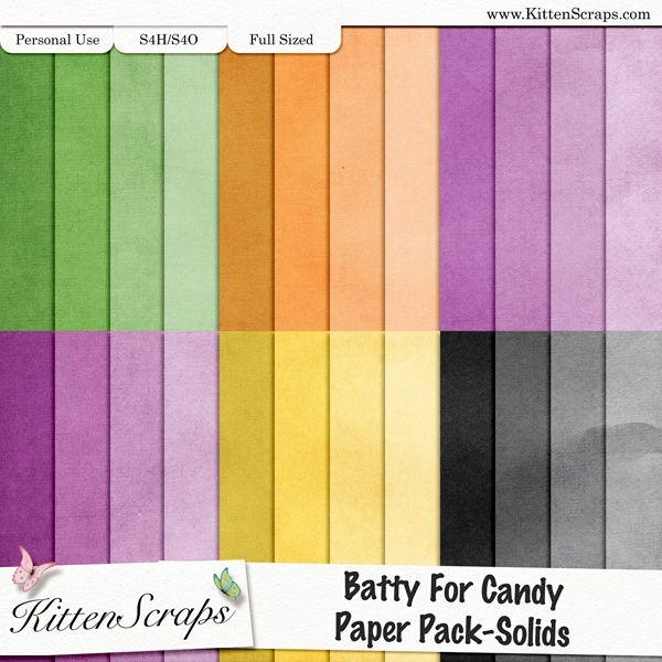 Batty 4 Candy Paper Pack Solids KittenScraps, Digital Scrapbooking