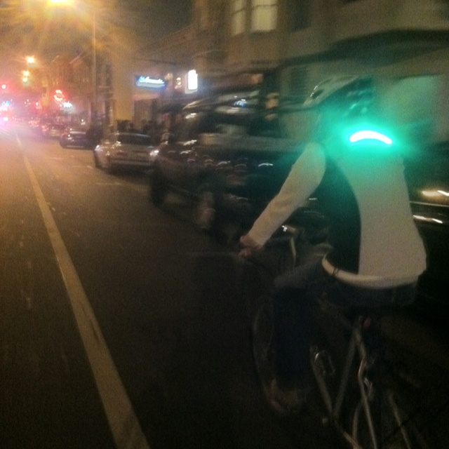 On my way home from the Mission I biked alongside this guy sporting his self-designed jacket with integrated LED lighting, a delightful safety aid. Great job, Anders! I hope to see more of them on the road (and to own one, natch').
