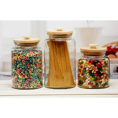 Circle Glass Woodland 3 Piece Canister Set with Wooden Lid