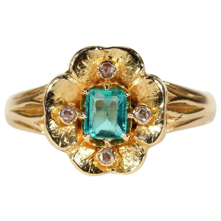 Victorian Emerald Diamond Flower Ring Gold 1