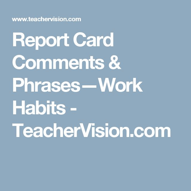 8 best Report card comments images on Pinterest Preschool report - report card