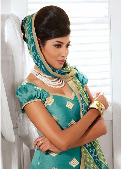 Vivid Sky Blue & Green Cotton Silk Lace Work Based #SalwarKameez