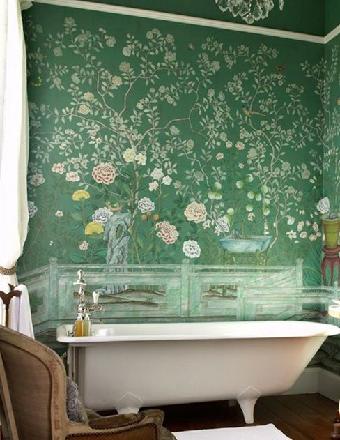 Chinoiserie style wallpaper in Jade Green