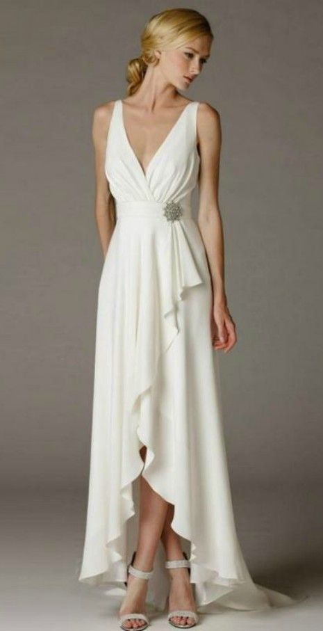 Simple elegant high low wedding dress for older brides for Wedding dresses for 60 year olds