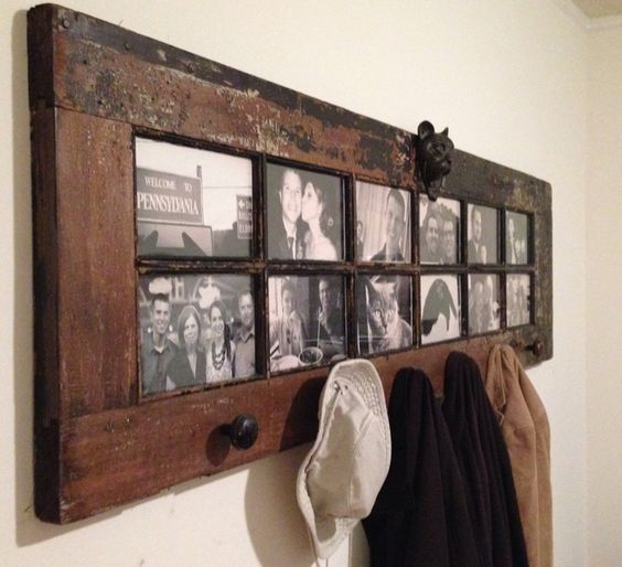 Turn an Old French Door into a Coat Rack & Photo Frames...these are the BEST Upcycled & Repurposed Ideas!