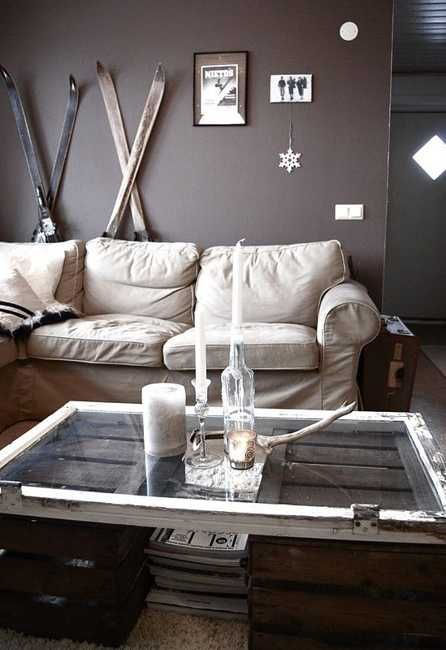 living room decorating with wooden skis