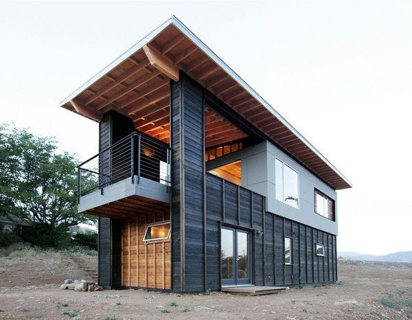 wooden hut modern design balcony Gray Flat Roof