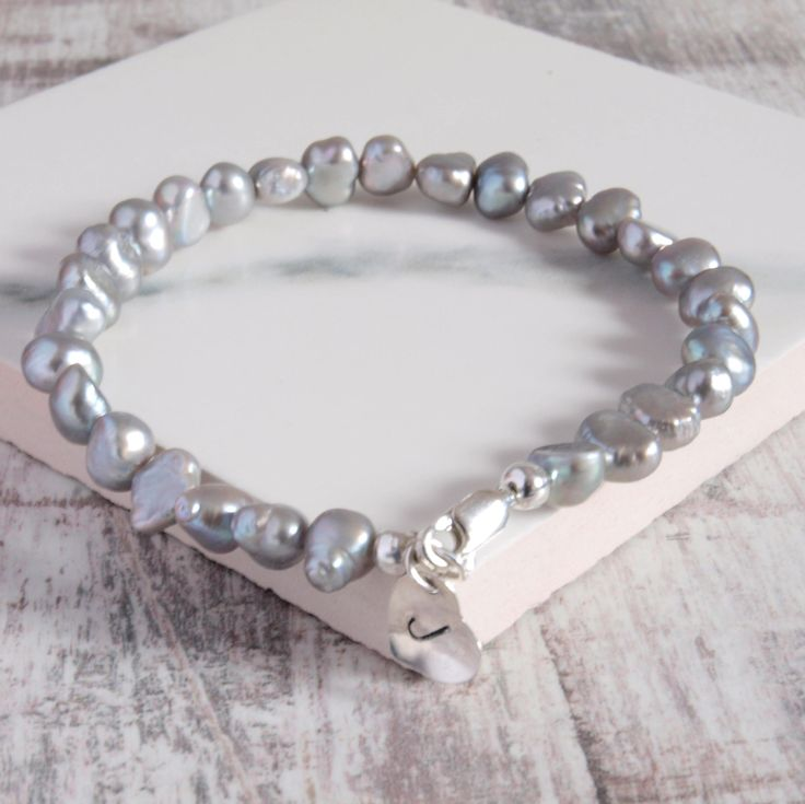Silver Pearl Personalised Bracelet by jewellerymadebyme on Etsy