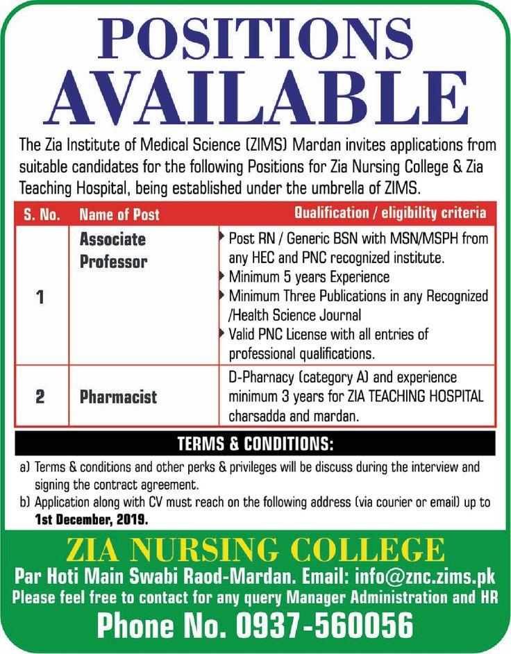 Associate Professor,Pharmacist Jobs In Mardan Associate