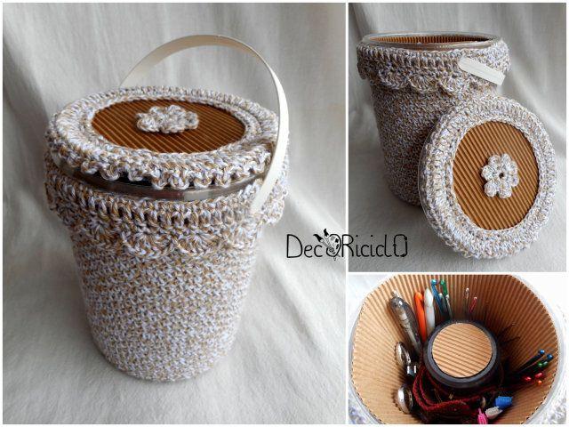 decoriciclo: Secchiello porta-crochet, di plastica e cotone... a crochet