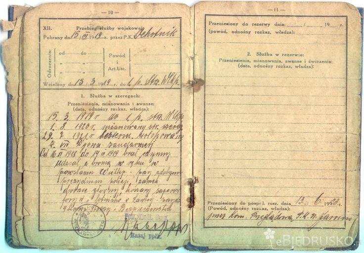 Książeczka Wojskowa żandarma  Józef Siudziński, Poznań 1920 r. (źr. Portal ebiedrusko.pl - wczoraj, dziś i jutro ; http://ebiedrusko.pl/aktualnosci/moj-pradziadek-powstaniec-wielkopolski/ )