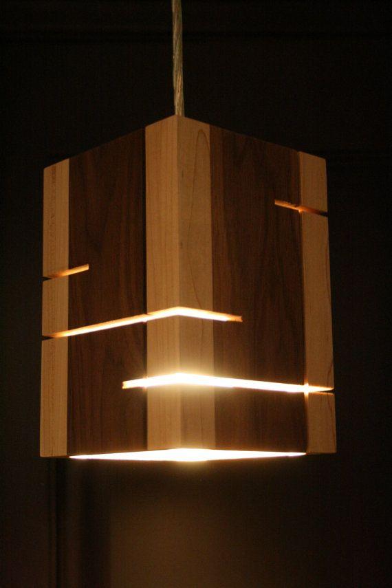 Handmade wooden pendent light by handmadewoodenlight on Etsy
