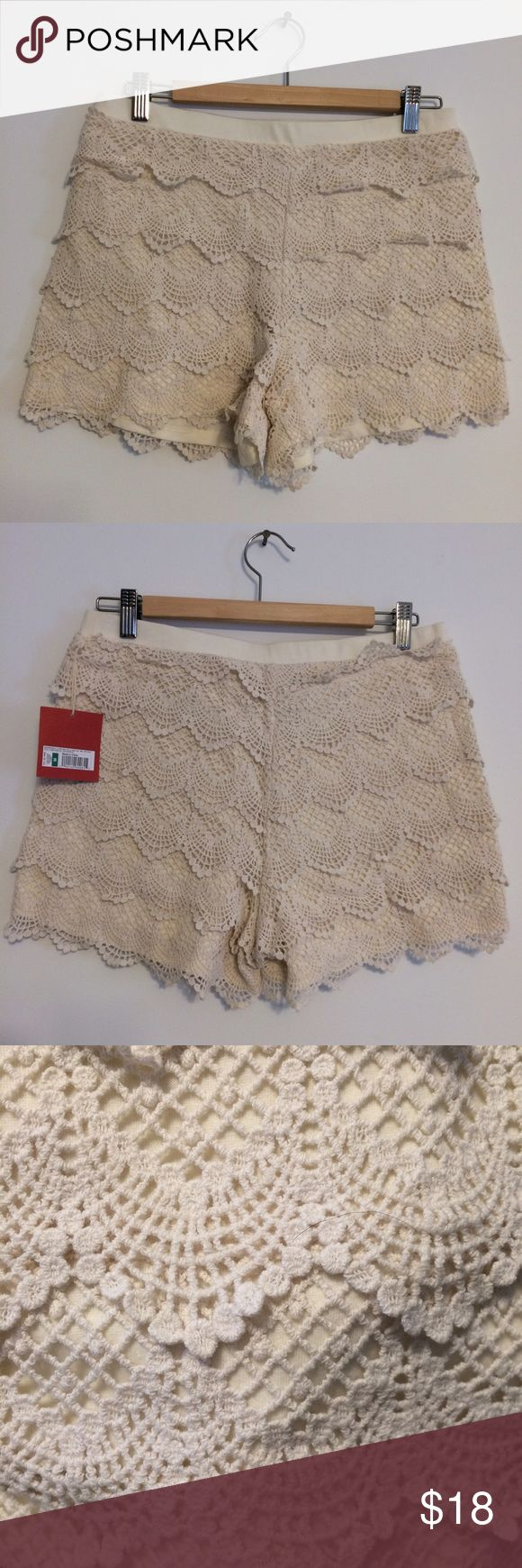 Mossimo ivory lace shorts Layered ivory lace shorts by Mossimo.  Smooth elastic wasteband. Perfect summer short.  Pair with denim top for the perfect day date outfit Mossimo Supply Co Shorts