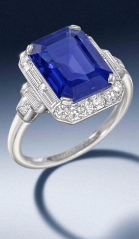 An art deco sapphire and diamond ring, by Cartier, circa 1930 The cut-cornered…