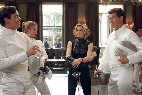 Good fencing makes good neighbors: (L to R) Gustav Graves (TOBY STEPHENS), Miranda Frost (ROSAMUND PIKE), Verity (MADONNA), and James Bond (PIERCE BROSNAN).  http://www.movpins.com/dHQwMjQ2NDYw/die-another-day-(2002)/still-2855311360