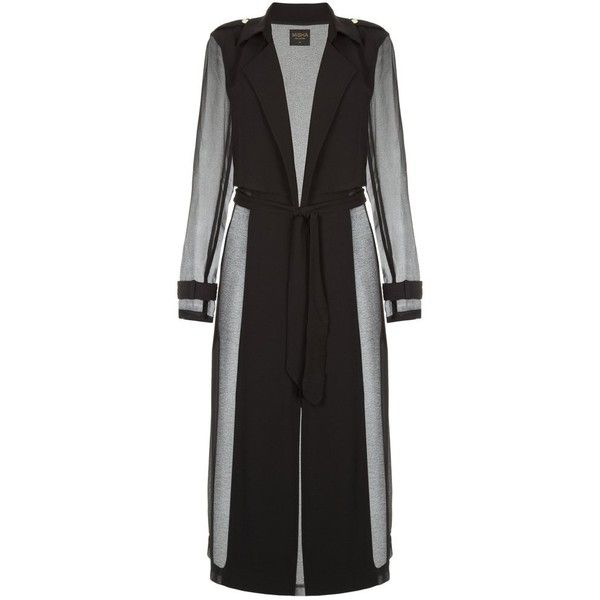 Misha Collection Paloma Trench (1.355 RON) ❤ liked on Polyvore featuring outerwear, coats, trench coat, collar coat, lightweight trench coat, misha collection and lapel coat