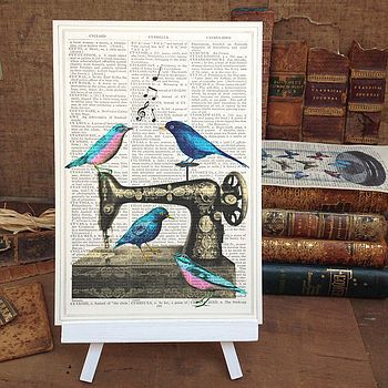 Antique Sewing Machine And Birds Art Print