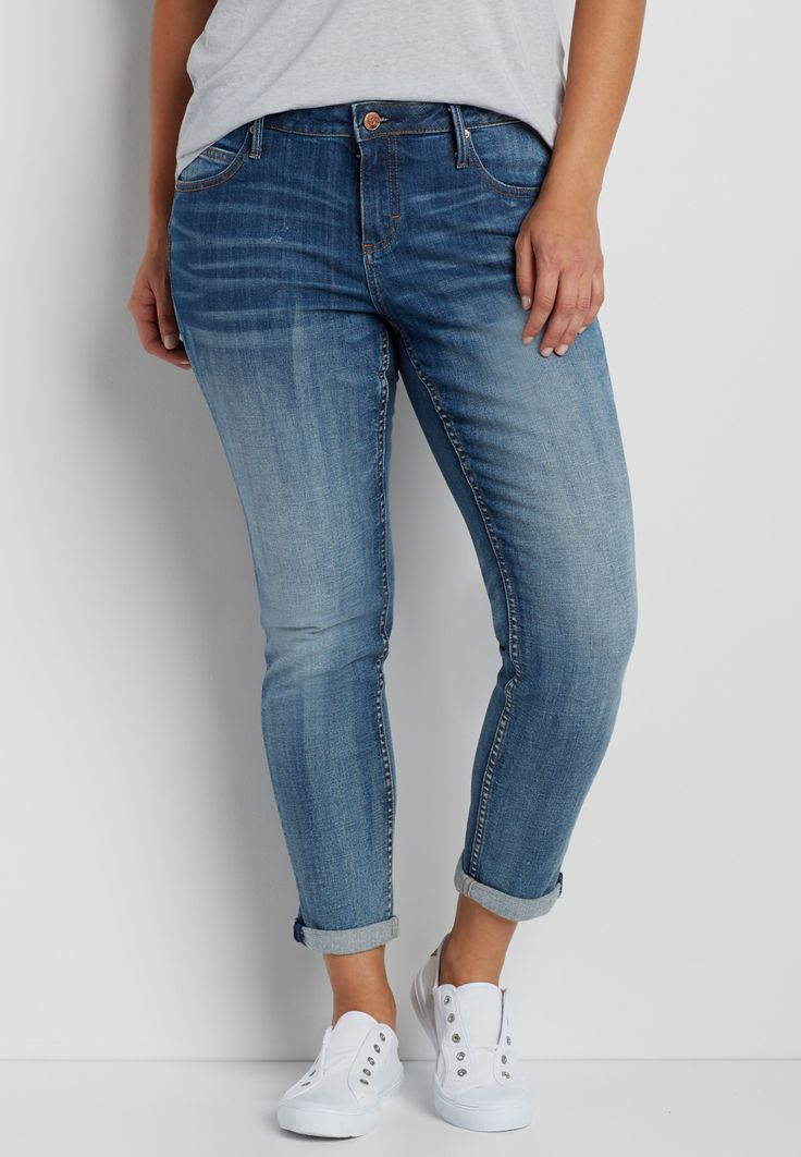 plus size skinny jeans in medium wash (original price, $69.00) available at #Maurices