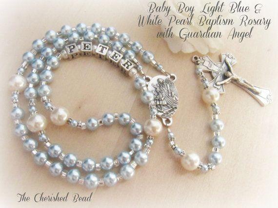 Bebé niño bautizo personalizado nombre luz azul perla Rosario