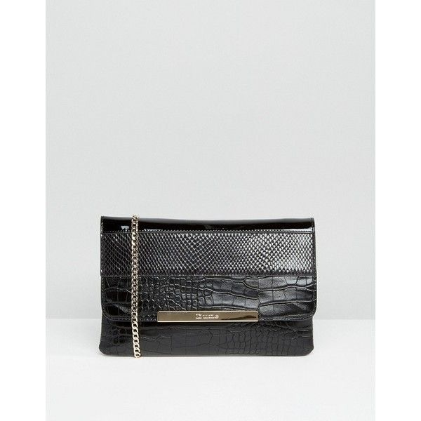 Dune Studded Clutch Bag (£34) ❤ liked on Polyvore featuring bags, handbags, clutches, black, dune purse, chain strap handbags, chain handle handbags, croco embossed handbags and crocodile handbags