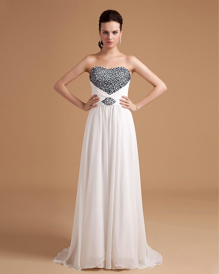 Chiffon Sweetheart Bead Floor Length A-line Evening Dress