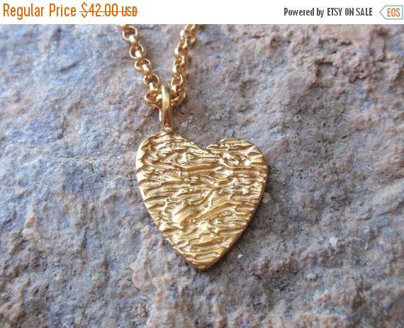 SALE 10% OFF gold heart necklace 24k gold plated by preciousjd