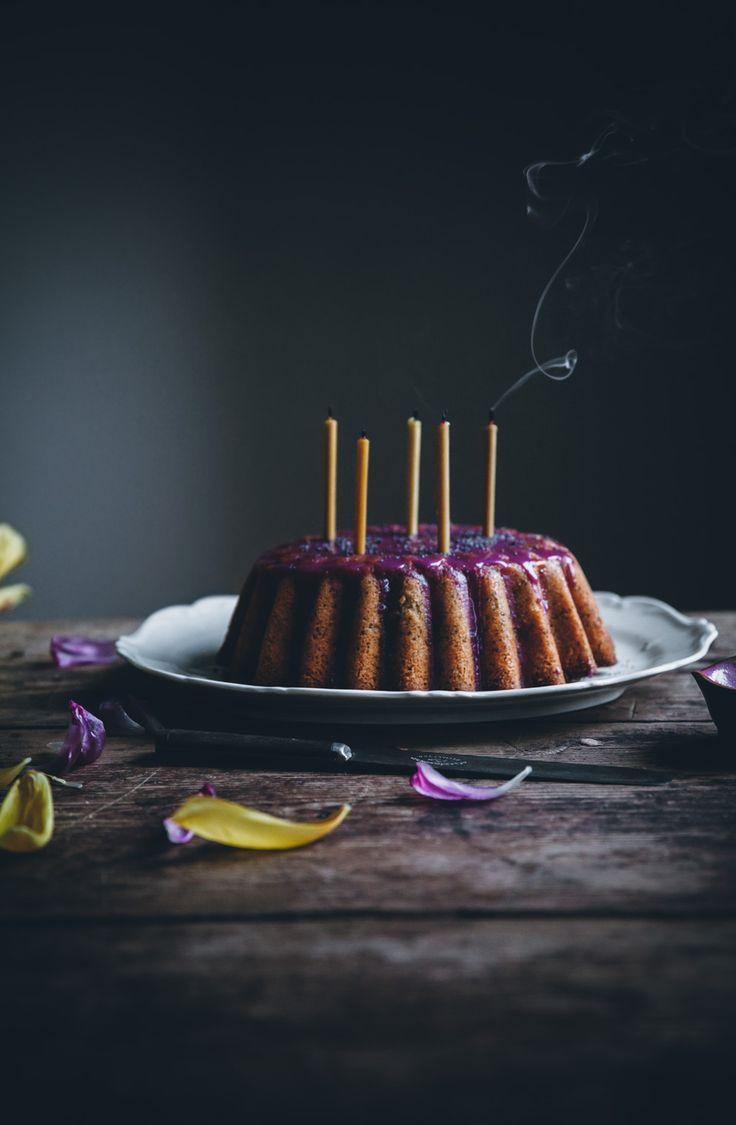 Lemon poppy seed bundt cake with a lemon syrup & blueberry glaze