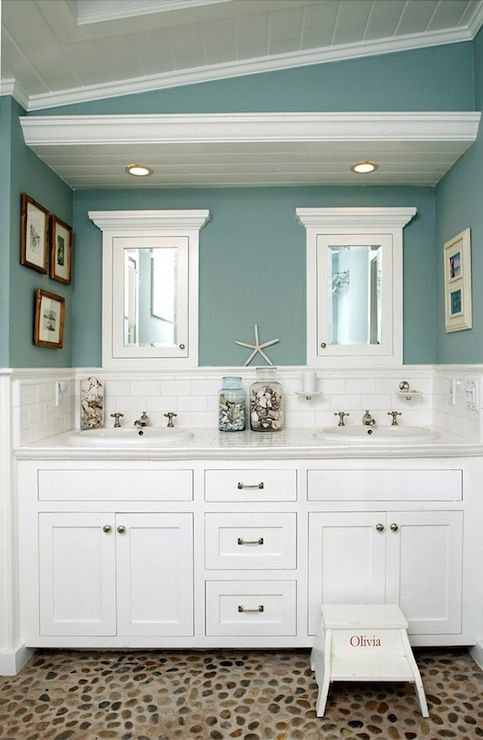 SallyL: Beautiful bathroom with built-in double vanity and incredible pebble floor. The white ...