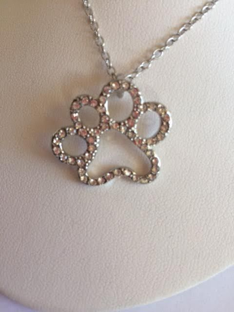 CAT DOG PET PAW PRINT NECKLACE  CRYSTAL RHINESTONE PENDANT HAND MADE CAT ResQ #Unbranded #Pendant