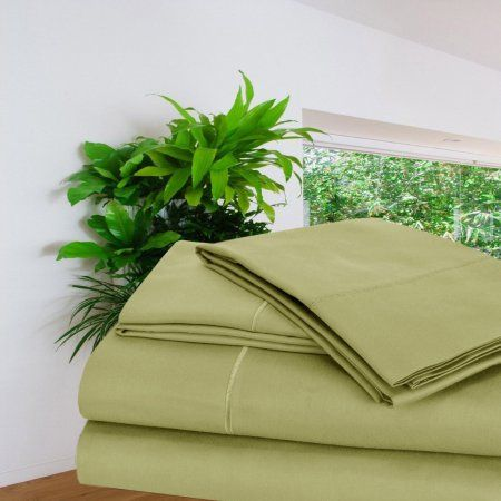 1000 thread count Cotton Rich Easy Care 4pc Sheet Set, Green