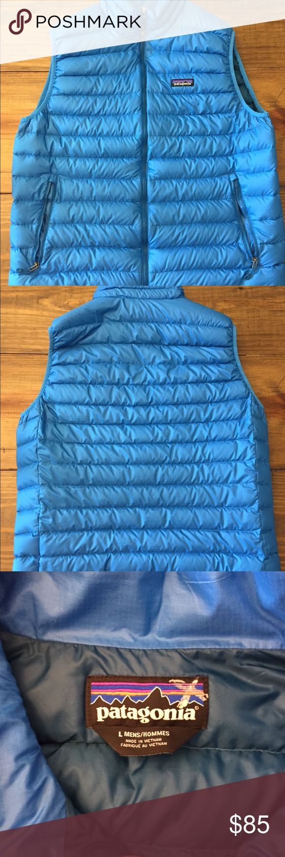 Patagonia Down Sweater Puffy Vest Mens Lg Men's Patagonia down sweater vest in a pretty blue. Excellent Condition! Patagonia Jackets & Coats Vests #vestsmen