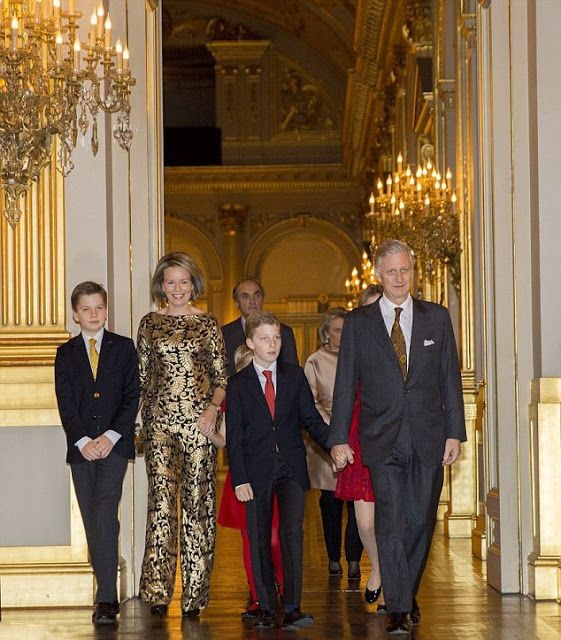 (L-R) The Belgian Royal family Prince Gabriel, Queen Mathilde, Prince Emmanuel, King Philippe, Princess Eleonore and Crown Princess Elisabeth make their grand entrance to the concert closely followed by Prince Lorenz and Princess Astrid
