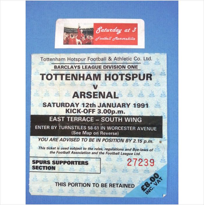 Tottenham Hotspur v Arsenal Football Ticket Stub 12/01/1991 League Division 1