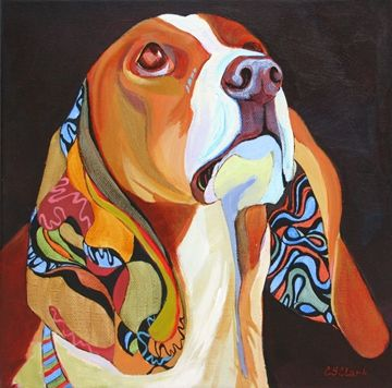 Chea, contemporary dog painting, painting by artist Carolee Clark
