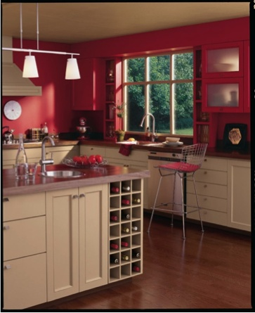 The whole wheat sw 6121 bottom cabinets balance out the - Red paint colors for kitchen walls ...