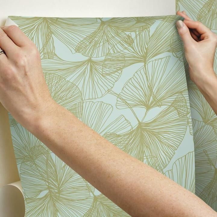 Gingko Leaves Peel And Stick Wallpaper Peel And Stick Wallpaper Gingko Leaves Room Visualizer