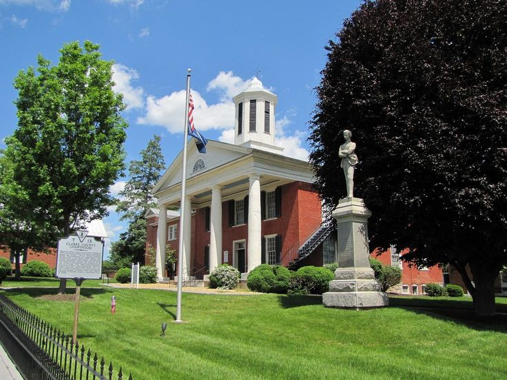 https://flic.kr/p/nL9JVD | Clarke County (VA) Courthouse | The Clarke County Courthouse, located in Berryville, Virginia, was built in 1838, with the portico and cupola added in a renovation in 1850.  The statue is a memorial to local Civil War veterans.  The courthouse is listed on the National Register of Historic Places.  Information from a marker at the courthouse and the National Register website.