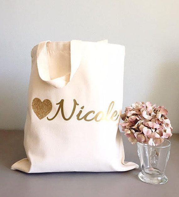 ** Custom tote bags- Tote bags- Glitter Heart tote bags- Bridesmaid thank you gift   What a great way to say thank you to the people that help