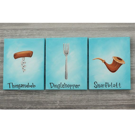 Thingamabobs? I got 20! Set of 3 paintings inspired by The Little Mermaid, available at bluedogwoodboutique.etsy.com