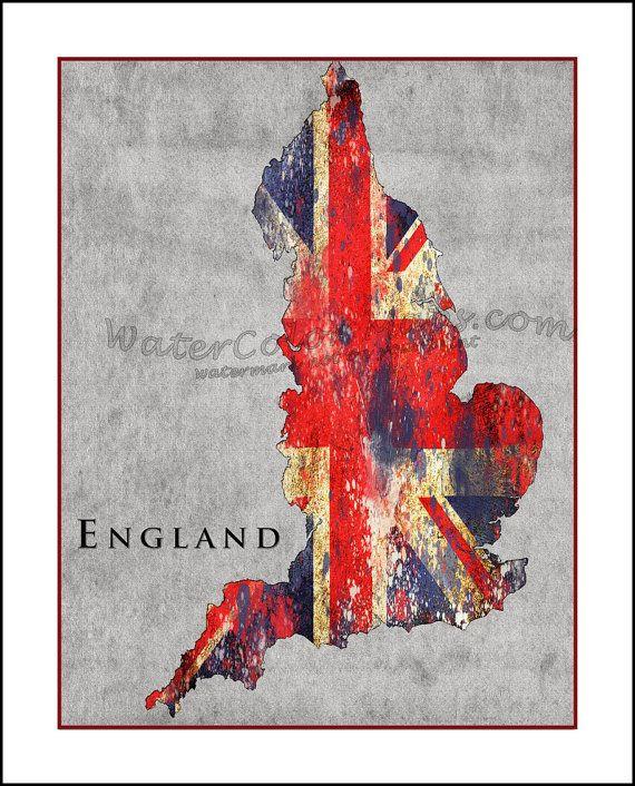 ENGLAND Map, Union Jack, Map of England, BRITAIN, London, Great Britain, UK, British Isles, Flag Map, British Flag on Etsy, $18.50