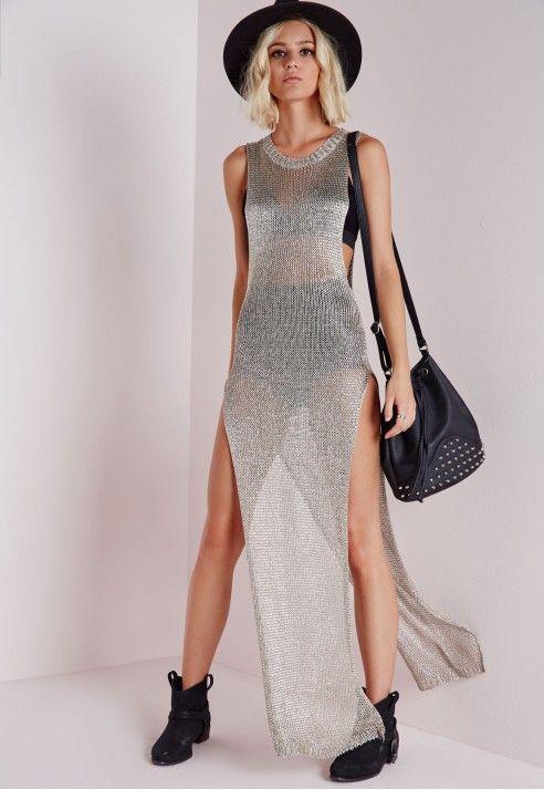 Metallic Side Split Knitted Maxi Dress Silver - Knitwear - Missguided