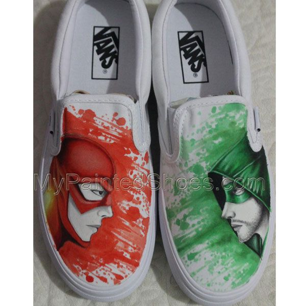 aae21faa7661 Hand Drawn Arrow And Flash Vans Shoes Hand Painted Shoes