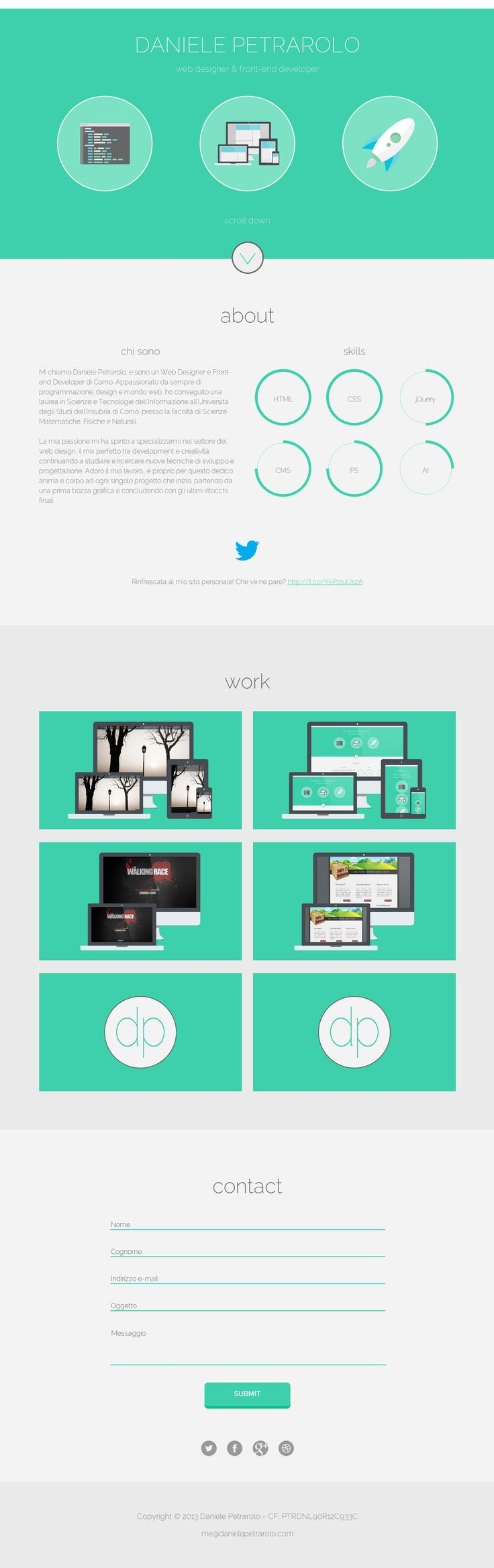 Cassandra cappello graphic design toronto - Responsive One Pager With A Slick Flat Design For Designer Daniele Petrarolo Loving How Crisp