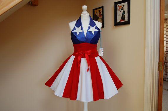 Captain America dress,American flag dress.MADE TO MEASURE!!