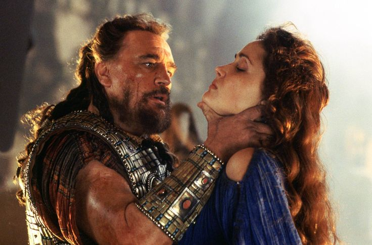 "Greek king of Mycenae, Agamemnon (Brian Cox) captures Achilles' love interest, Briseis (Rose Byrne) in 2004's ""Troy"""