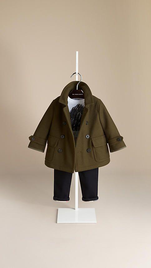 Wool Cashmere Melton Pea Coat   Burberry