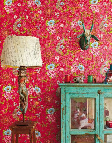 Pip Studio Flowers in the mix red wallpaper