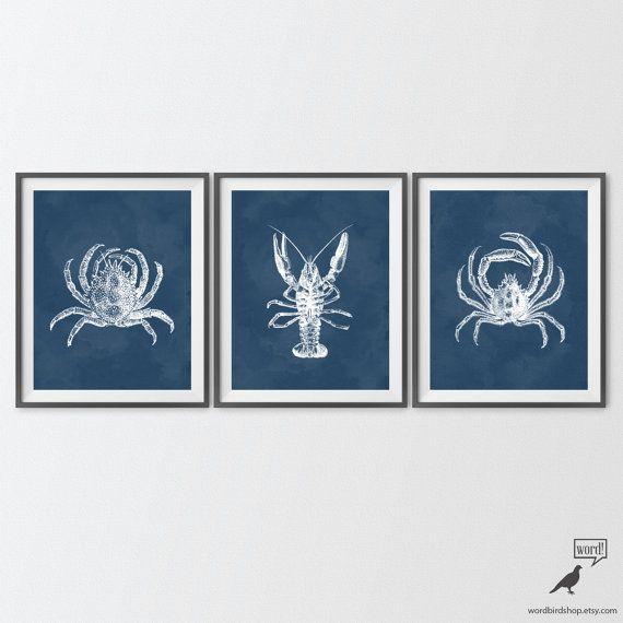 navy blue bathroom decor crab lobster crustaceans 3 print set blue bathroom art blue crab art prints nautical navy blue home decor print set