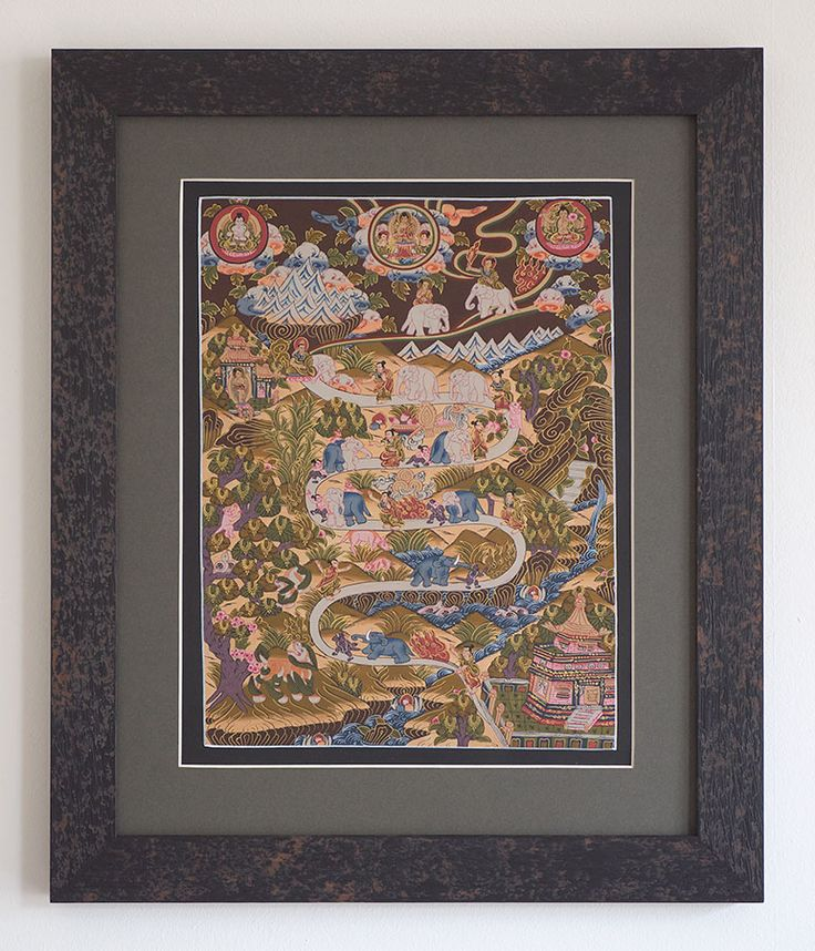 Path to Enlightenment - Original Tibetan Thangka painting, elephants, Buddhas, temple, cave. Framed by Naggar Valley: http://naggarvalley.com/product/framed-tibetan-thangka-path-to-enlightenment-brown-green-blue-and-gold-520mm-x-430mm/